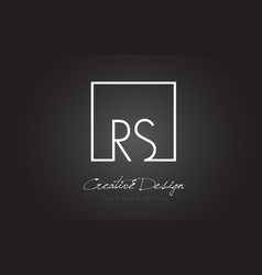 Rs square frame letter logo design with black and vector