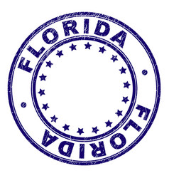 scratched textured florida round stamp seal vector image