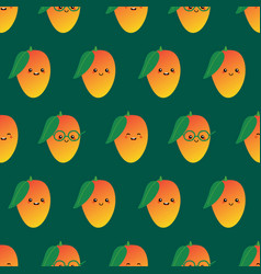 seamless pattern with mango fruit characters vector image