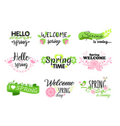 set hello spring lettering vector image