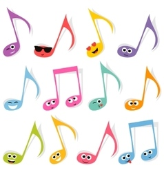 Set of cute colorful note smileys vector
