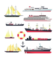 set of sea ships boats and yacht isolated vector image
