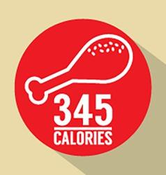 Single fried chicken 345 calories symbol vector