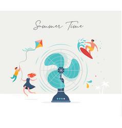 summer scene group people having fun around a vector image
