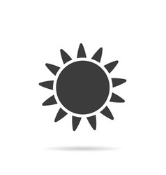 sun icon flat style with shadow on white vector image