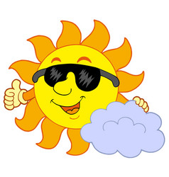 sun with cloud vector image