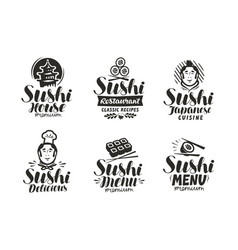 Sushi and rolls logo or label japanese fast food vector
