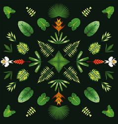 symmetric geometric tropical flowers and leaves vector image
