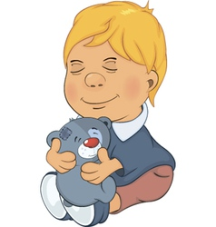 The boy and toy bear cub cartoon vector image
