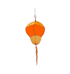 Traditional chinese paper lantern with fringe vector
