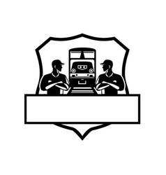 train engineers arms crossed diesel train crest vector image