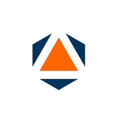 triangle inside hexagon shape logo template vector image