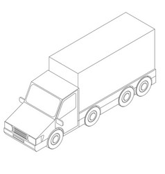 truck outline isometric vector image