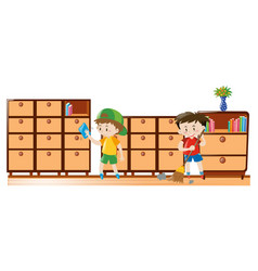 two boys cleaning drawers and sweeping floor vector image