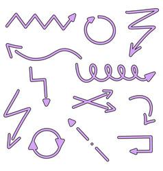 violet arrows right left navigation icons arrow vector image