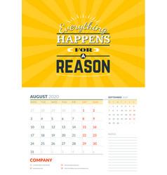 Wall calendar template for august 2020 design vector