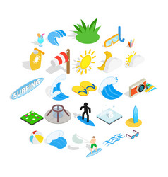 Water fun icons set isometric style vector