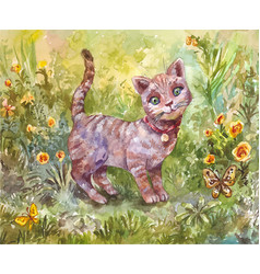 Watercolor of gray little cat vector