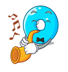 With trumpet cartoon the number zero color blue vector