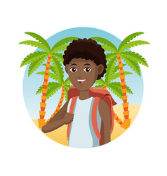 Young guy afro traveler palm sand beach vector