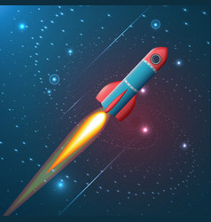 a rocket flying in space vector image