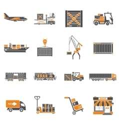 Cargo Transport and Packaging Icon Set vector image