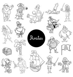 cartoon pirate characters collection vector image vector image