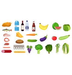 grocery set icon vector image vector image