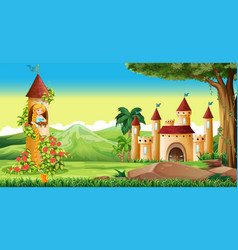 scene with princess in the tower vector image vector image