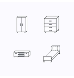 Single bed TV table and cupboard icons vector image
