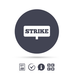 Strike sign icon protest banner symbol vector