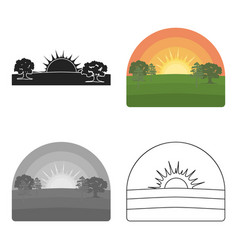 sunrise icon in cartoon style isolated on white vector image