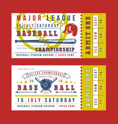 template for vintage baseball ticket vector image