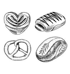 bread and pastry donut sweet bun or bagels with vector image vector image