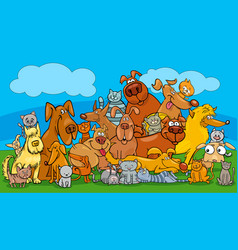 cartoon dog and cats pet characters group vector image vector image