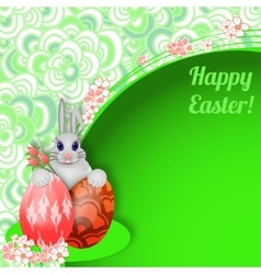 Easter background with rabbit easter eggs and vector image
