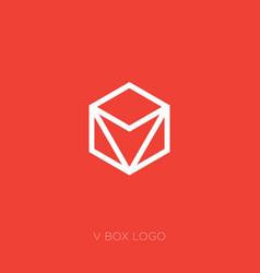 red v box logo v monogram vector image