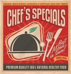 Retro poster template for best restaurant in town vector image vector image