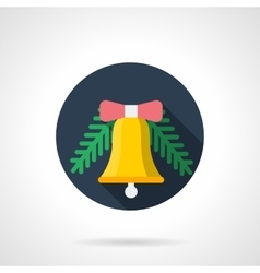 Round flat color icon for Xmas bell vector image
