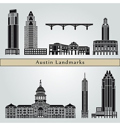 Austin landmarks and monuments vector image