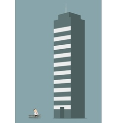 Businessman looking to the top of success vector