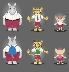 Cartoon character Rhino Tiger and Tarsius vector image vector image