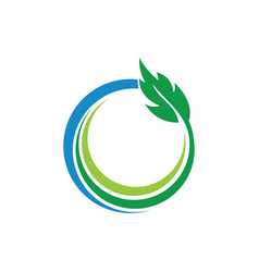 circle green leaves and ecology logo vector image vector image