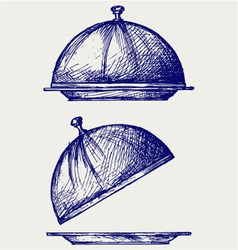 Cloche with open lid vector image