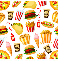 fast food restaurant lunch seamless pattern design vector image vector image