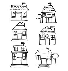 hand draw of house various set vector image vector image