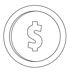 one dollar icon outline style vector image vector image