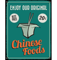 Retro Vintage Tin Sign with Grunge Effect vector image vector image