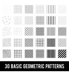 Set of basic geometric patterns Memphis style vector image