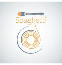 spaghetti pasta plate fork background vector image vector image
